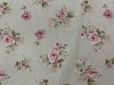 "Vintage Linen Antique Small  Rose  Pink/Green 140cm/54"" Curtain/Craft Fabric"