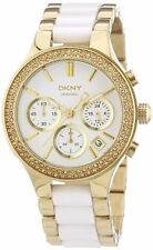 DKNY CERAMIC GOLD CHRONOGRAPH WHITE CRYSTAL STAINLESS STEEL WOMEN'S WATCH NY8182