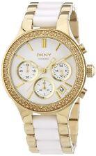 DKNY Cronografo In Ceramica Oro Cristallo Bianco Acciaio Inox Orologio Da Donna NY8182