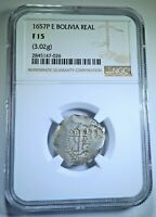 NGC 1657 Spanish Bolivia Silver 1 Reales Antique Colonial 1600's Pirate Cob Coin