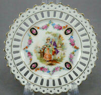 Set of 3 Schumann Dresden Courting Couple Floral & Gold Reticulated Bread Plates