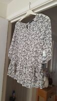 Pretty Atmosphere Cream Multi Sheer Floral Top, 3/4 Sleeves, Size 10, VGC
