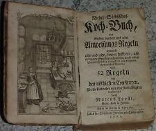 RARITÄT:Nieder-Sächsisches Koch-Buch 1772  EXTREM SELTEN!!!  710 Regeln