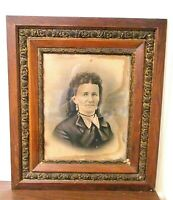 Antique 1850-1900 Victorian Wood & Gesso Picture Frame With Charcoal Portrait #4