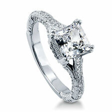 Princess 1.65Ct Solitaire Diamond Engagement Ring 18K Solid White Gold Size N M