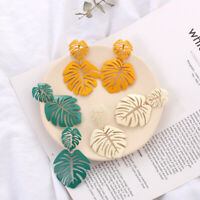 Fashion Coconut Hollow Palm Leaves Dangle Earrings Ear Drop Summer Beach Jewelry