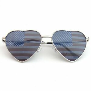 SUNGLASSES Womens Retro Cute Chic Heart Shape Independence Day American Flag