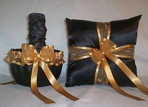 BLACK SATIN / GOLD TRIM FLOWER GIRL BASKET & RING BEARER PILLOW #2