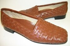 MASSIMO Size 10 Brown Leather Woven Loafers Flats Shoes