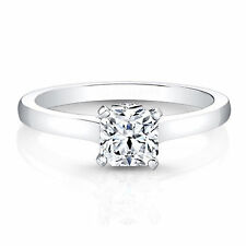 Cushion Cut 0.60Ct Diamond Engagement Ring 18 K Solid White Gold Size L M