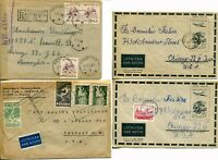 4 Poland to USA Registered Airmail Postage Cover Stamp Collection