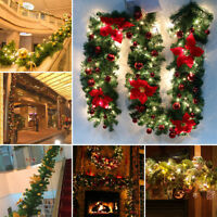 9Ft Christmas Fireplace Garland Lights Pine Artificial Decor Wreath Tree XMAS UK