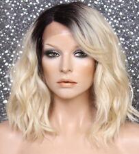 Human Hair Blend Full Lace Front Wig Heat OK wavy Blonde dk roots side part WENN