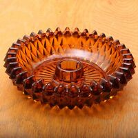 Vintage Indiana Glass Company Diamond Point Amber Glass Candle Holder