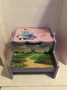 Disney Princess Pink Hard Wood Storage Step Stool Bench Kids Girls