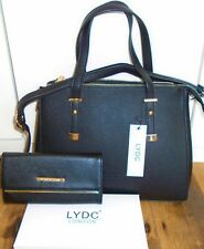 LYDC London Designer Black Bag and LYDC Purse with Gift Box - Gift Idea