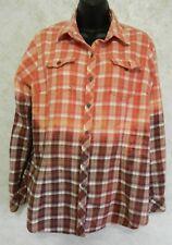Dickies Distressed Flannel Handmade Shirt Bleached Brown Pink Plaid Ladies Lge