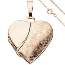 Medaillon Herz Anhänger zum Öffnen 925 Silber rosegold vergoldet mit Kette 45 cm