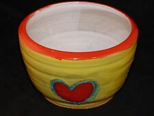 """HEART CERAMIC BOWL ROUND 5"""" ORANGE, YELLOW, TEAL RED HEARTS HAND THROWN POTTERY"""