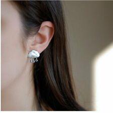 Fashion Women Silver Rain Clouds Drop Dangle Ear Stud Earrings Jewelry Gifts New