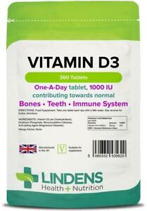 Vitamin D3 1000IU 360 Tablets Immune Health Bones Support Lindens