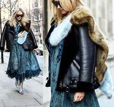 ZARA azul y marrón imitación piel estola chal bufanda FAVORITO de bloggers