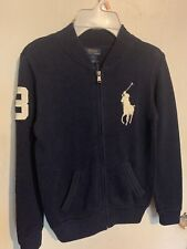 Ralph Lauren Polo BIG PONY Full Zip Sweater Jacket •NAVY/WHITE• Boys 7