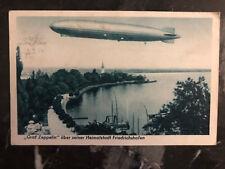 1933 Bregenz Austria PPC Postcard Cover Graf Zeppelin Over Lake