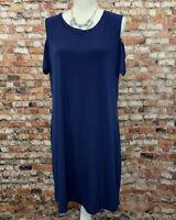 Michael Kors Women's XL Navy Blue Crew Neck Stretch Dress #A26