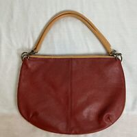 MAXX of New York Burgandy Leather Purse With Tan Leather Shoulder Straps