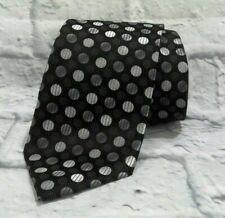 Stacy Adams Signature Gold Black Silver Polka Dots Geometric Necktie Extra Long