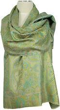 Pashmina Seidenschal grün gelb 100%Seide, silk stole scarf Foulard écharpe soie