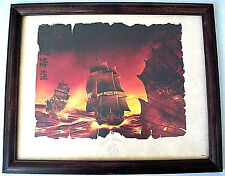 Disney Pirates Of The Caribbean Black Pearl Embossed Litho Print Limited Framed!