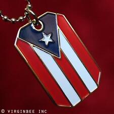 PUERTO RICO FLAG PR PRIDE PENDANT DOG TAG BALL CHAIN NECKLACE NICKEL FREE METAL