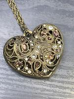 "Vintage Brass Tone Rhinestones Puffy Heart Pendant Necklace Free Ship  30"""