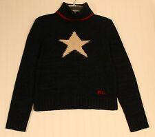 Ralph Lauren women's Medium to Large navy wool and silk turtleneck sweater