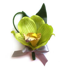Boutonniere-Green Orchid with gray ribbon bow-Pin included