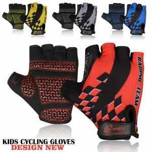 Kids Junior Bike Bicycle Cycling Half Finger Gloves Boys Girls Child, Fingerless