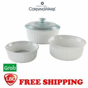 Corningware French White round set stoneware 4PC NOT pyrex corelle kitchenaid