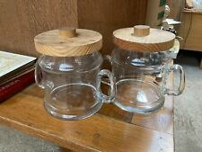 More details for vintage retro clear glass storage jars with handles x 2 wooden lids