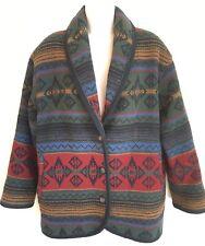 Vintage Woolrich Wool Blanket Coat Southwestern Aztec Nordic Jacket Womens M USA