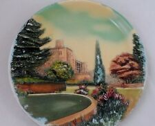 """Large 14.5"""" Bossons Chalkware Raised Relief Old English Manor House Plaque Plate"""