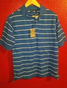 Jos A Bank Men's Short Sleeve Stripe Sports Golf Polo Shirt Small Blue New