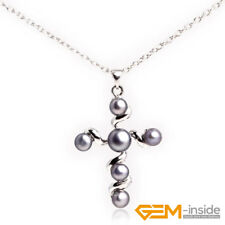 Natural 6mm Freshwater Pearl Round Cross Jesus Pendant Charm Necklace 30x42mm