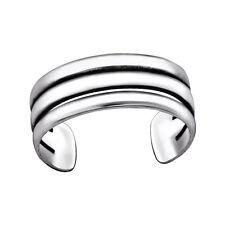 Tjs 925 Sterling Silver Toe Ring Triple Line Band Plain Adjustable Oxidised