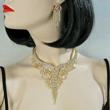 Exquisite Collar Necklace And Earring Set With AB And Clear Stones - J515GOCL