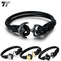 TT Black Leather 316L Stainless Steel Anchors Bracelet Wristband (BR222)  NEW