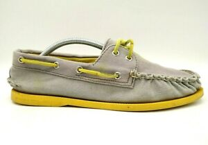 Sperry Top Sider Logo Taupe Canvas Lace Up Deck Boat Loafers Shoes Men's 10.5 M