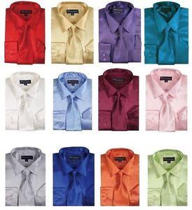 Men's  Shiny Satin Dress Shirt With Tie and Handkerchief Set Size 151/2-- 201/2