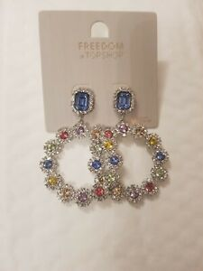 Freedom At Topshop Silver Gem Round Sparkle Earrings